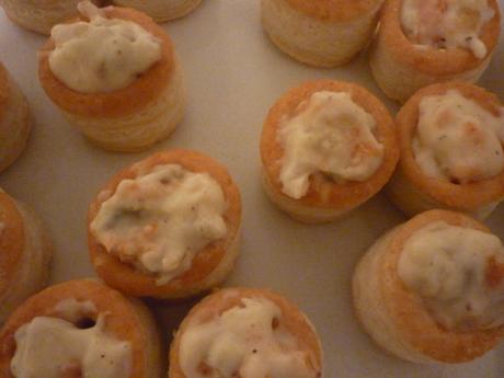 Mini vol-au-vents saumon champignons