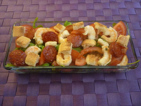 Roquette crevettes chorizo