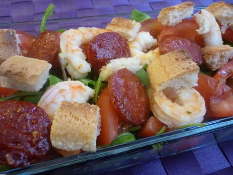Salade roquette crevettes chorizo
