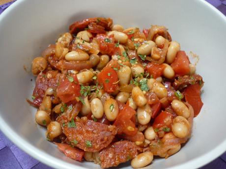 Salade haricots blancs chorizo tomates