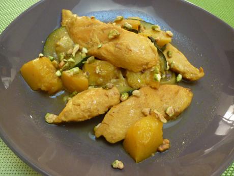 Tajine poulet courgettes mangue pistaches