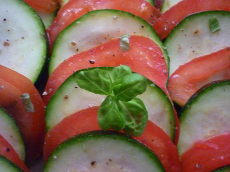 Carpaccio tomates courgettes